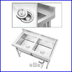 Stainless Steel Catering Sink Kitchen Double Bowl Dishwashing Unit Commercial