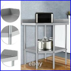 Stainless Steel Commercial Catering Kitchen 2 Tier Shelving Unit Corner Table UK