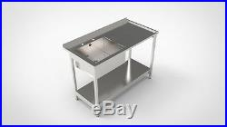 Stainless Steel Commercial Catering Kitchen Sink 1200mm Single Bowl R/h/drainer