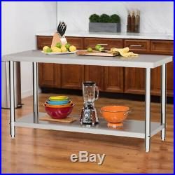 Stainless Steel Commercial Catering Table Kitchen Food Prep Shelf Work Bench Top