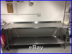 Stainless Steel Commercial Catering Table Work Bench Kitchen 220 X 70 X 90cm