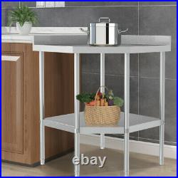 Stainless Steel Commercial Catering Table Work Bench Kitchen Prep Worktop 2 Tier