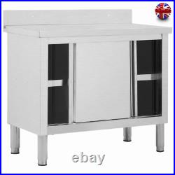 Stainless Steel Commercial Catering Table Work Bench Kitchen Storage Cupboard UK