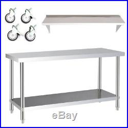 Stainless Steel Commercial Catering Table Work Bench Kitchen Top Wall Shelf Unit