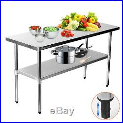 Stainless Steel Commercial Catering Table Work Bench Kitchen Worktop Voilamart