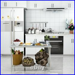 Stainless Steel Commercial Catering Work Table Shelf Kitchen Food Prep Bench