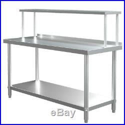 Stainless Steel Commercial Kitchen Food Prep Work Table+Over Shelf Bench Top Set