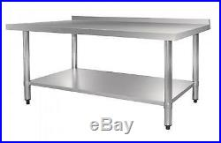 Stainless Steel Commercial Kitchen Table with Splash Back & Shelf 1500 mm