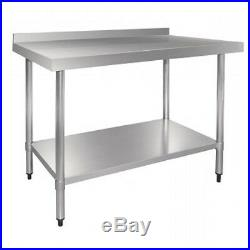 Stainless Steel Commercial Kitchen Table with Splash Back & Under Shelf 1200 mm
