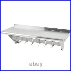 Stainless Steel Commercial Kitchen Wall Shelf with Pot Rack & Backsplash 1200mm