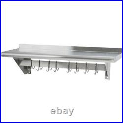 Stainless Steel Commercial Kitchen Wall Shelf with Pot Rack & Backsplash 1800mm