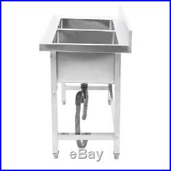 Stainless Steel Commercial Sink Double Bowl Kitchen Catering Table Waste Unit UK