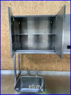 Stainless Steel Commercial Sink Kitchen Catering Prep Table + Cabinet