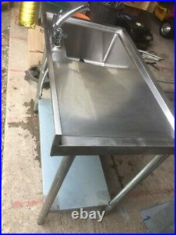 Stainless Steel Commercial Sink Single Bowl Kitchen Catering Table
