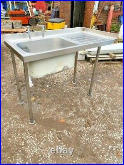 Stainless Steel Commercial Sink Table 4ft X 2ft X 3ft High Extra Deep Sink Hduty