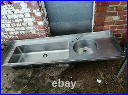 Stainless Steel Commercial double Sink. Kitchen Catering. 200x62x25 deep. Ilkeston