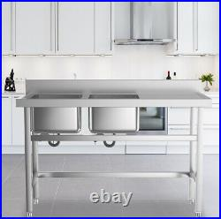 Stainless Steel Double Sink Bowl Commercial Catering Kitchen Handmade Wash Table