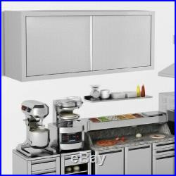Stainless Steel Kitchen Cupboard 1500mm Commercial Bathroom Storage Wall Hanging