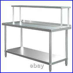 Stainless Steel Kitchen Prep Table Overshelf Commercial Catering Worktop Bench