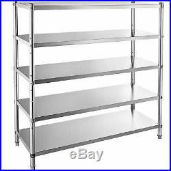 Stainless Steel Kitchen Shelf 5 Tier Garage Shelving Rack Commercial Storage