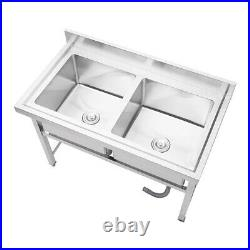 Stainless Steel Kitchen Sink Work Food Prep Table 2-Bowl Commercial Catering Use