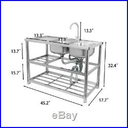 Stainless Steel Kitchen Sinks Rectangular Double Bowls & Faucet Commercial Use