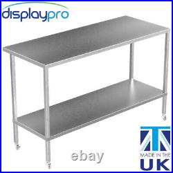 Stainless Steel Kitchen Table on Wheels Commercial Heavy Duty Adjustable Shelf