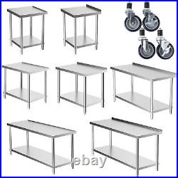 Stainless Steel Kitchen Work Bench Commercial Catering Table Food Prep Worktop