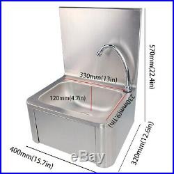 Stainless Steel Knee Operated Hand Wash Basin Commercial Kitchen Hands Sink