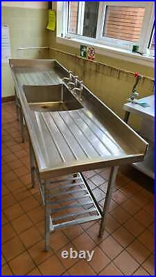 Stainless Steel Mid Sink Commercial Catering Kitchen Single Bowl 3 Taps