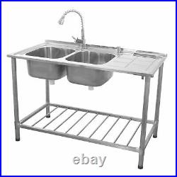 Stainless Steel Sink Catering Kitchen Commercial Double Bowl Right Hand B0751