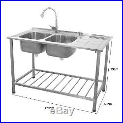 Stainless Steel Sink Catering Kitchen Commercial Double Bowl Right Hand Drainer
