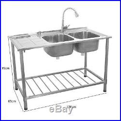 Stainless Steel Sink Double Bowl Catering Commercial Kitchen Left Hand Drainer