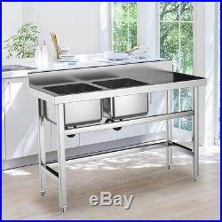 Stainless Steel Sink Kitchen Commercial WashTable 130cm Restaurant Catering Shop