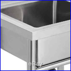 Stainless Steel Sink Single Bowl Kitchen Catering Prep Table WasteKit Commercial