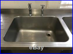 Stainless Steel Table Double Sink Commercial Kitchen Tap Double Bowls Shelf