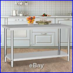 Stainless Steel Table Shelf Work Bench For Kitchen Bar Dish Food Prep Commercial
