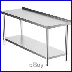 Stainless Steel Table Work Bench 6FT 180cm Catering Table Top Commercial Kitchen