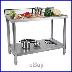 Stainless Steel Work Table Commercial Kitchen Catering Worktop Food Prep Top