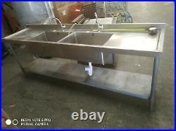 Stainless steel commercial kitchen double bowl sink unit with taps