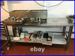 Stainless steel commercial kitchen table with shelf L1.8m x W60cm x H86cm