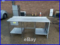 Stainless steel worktop table oven stand heavy duty commercial 192 X65X90 CM