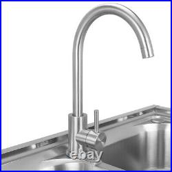 Stand Complete Set Commercial Double Bowl Kitchen Sink Stainless Steel Catering
