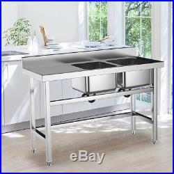 Standing Kitchen Sink Stainless Steel 2 Bowl Side Platform Wash Table Commercial