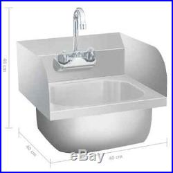VidaXL Commercial Hand Wash Sink with Faucet Stainless Steel Kitchen Basin