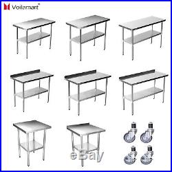 Voilamart Stainless Steel Commercial Catering Table Work Bench Worktop Kitchen